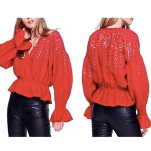 Free People Red & Metallic Gold Poets Blouse - L